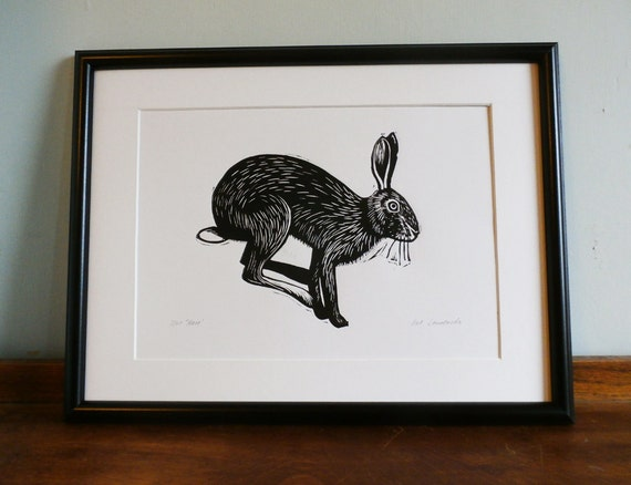 Hare, Original Linocut Print, Signed Limited Edition of 50,  Free Postage in UK, Hand Pulled, Printmaking,