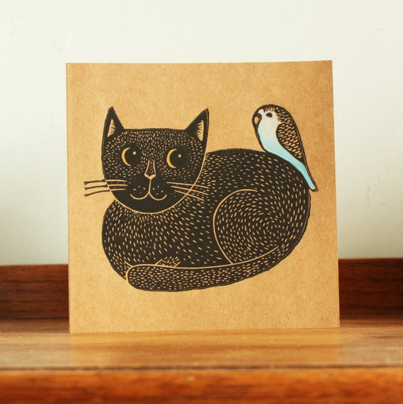 Black Cat and Budgie, Original Hand Printed Card, Linocut Card, Blank Greeting Card, Brown Kraft Card, Free Postage in UK,