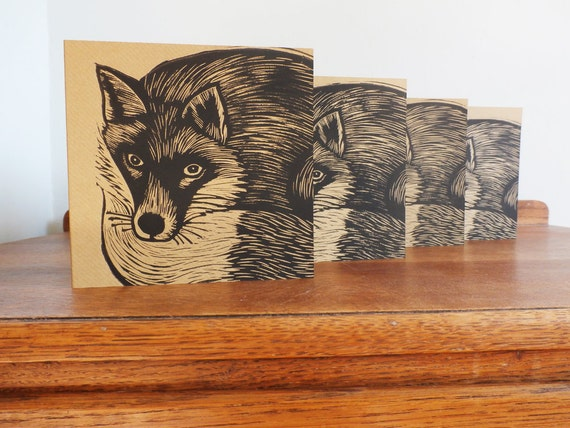 Linocut Cards Set of 4, Fox, Woodland Animal, Original Hand Printed Cards, Blank Greeting Cards, Brown Kraft Cards, Free Postage in UK,