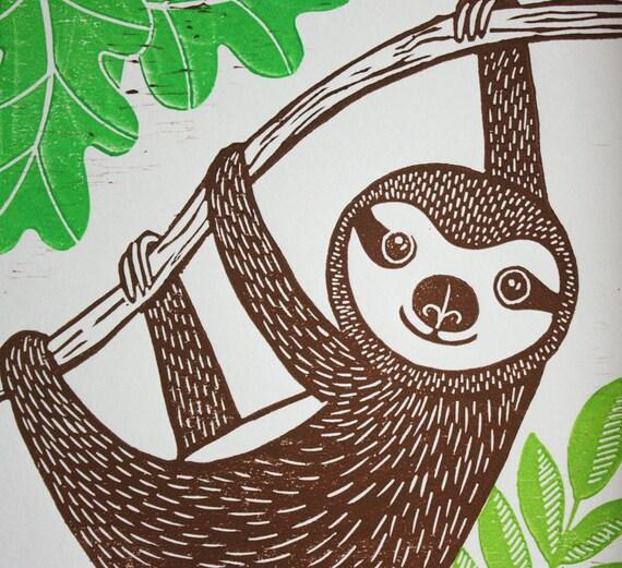 sloth linocut - original linocut print - signed open edition - Kat Lendacka - lino print - animal linocut - free postage - hand printed