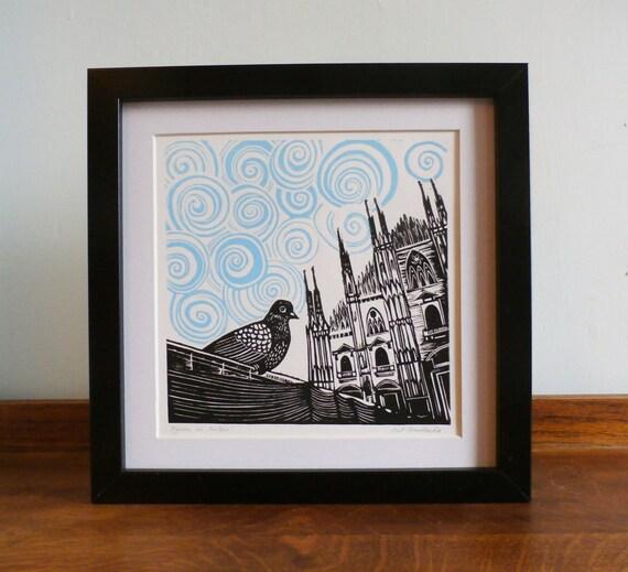 Duomo di Milano Linocut Print