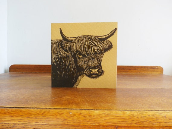 linocut card - highland cow - original hand printed card - blank greeting card - kraft card - free postage in UK - Kat Lendacka