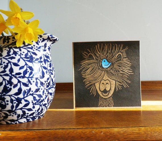 Alpaca with a Bluebird, Easter, Original Hand Printed Card, Linocut Card, Blank Greeting Card, Brown Kraft card,  Free Postage in UK,