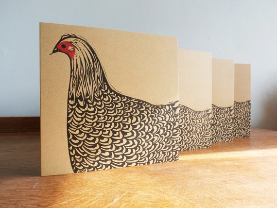 Linocut Cards Set of 4 Hens - Hand Printed - Kat Lendacka - linocut - Blank Greeting Cards - Brown Kraft Cards - Free Postage in UK