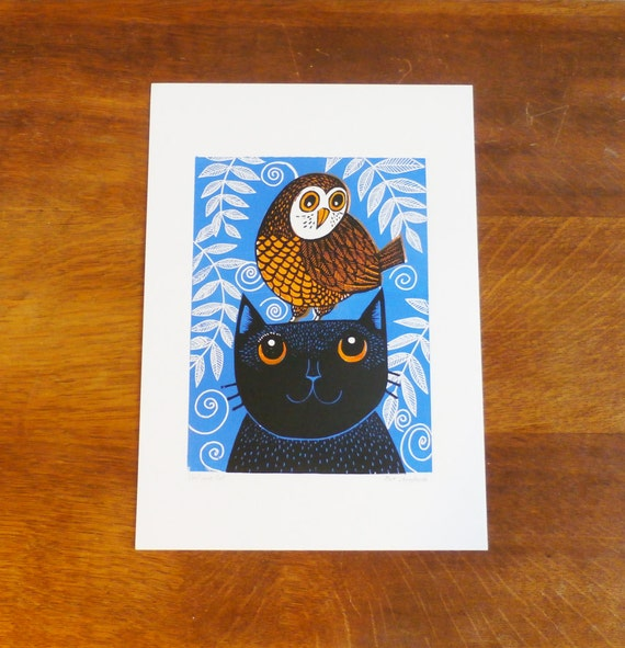 linocut print - owl and cat linocut print - signed open edition - free postage in UK - hand printed - Kat Lendacka - linoprint