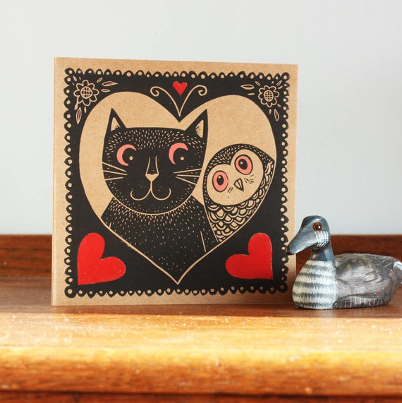 Linocut Greeting Card - Cat and Owl  Print - Valentine's Day - Hand Printed Card - Blank Greeting Card - UK Free Postage - Kat Lendacka