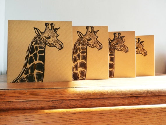 Linocut Cards Set of 4, Giraffe, Original Hand Printed Cards, Blank Greeting Cards, Brown Kraft Cards, Free Postage in UK,