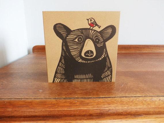 Bear with a Robin, Original Hand Printed Card, Linocut Card, Blank Greeting Card, Brown Kraft Card, Free Postage in UK,
