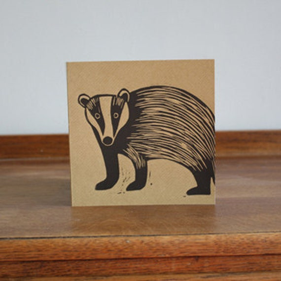 badger linocut card - hand printed linocut - Kat Lendacka - linoprint - animal card - blank greeting card - brown kraft card - free postage