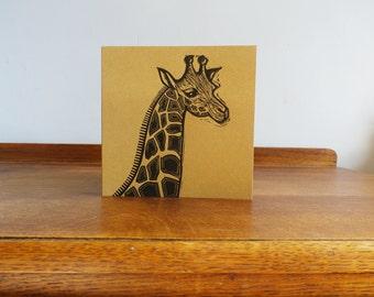 Giraffe linocut print - Original Hand Printed Card - Linocut Card - Blank Greeting Card - Animal linocut - Free Postage - Kat Lendacka