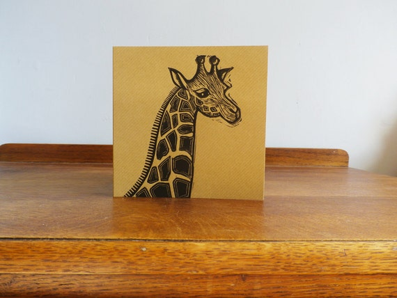 linocut print - giraffe linocut - linocut card - hand printed - blank greeting card - animal linocut - free postage in the UK - Kat Lendacka