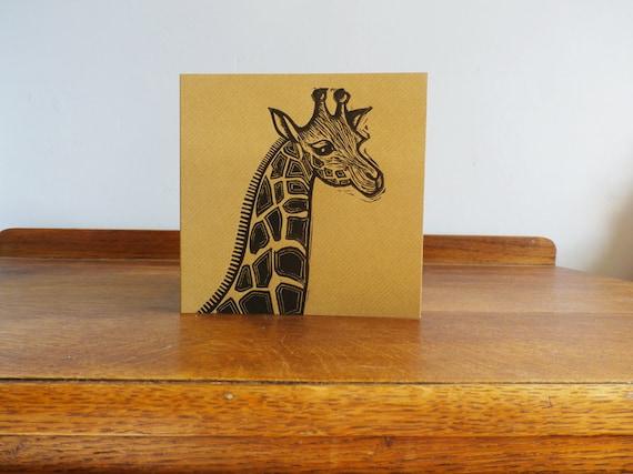 linocut print - giraffe linocut - linocut card - hand printed - blank greeting card - animal linocut - free postage in the UK - Kat Lendacka