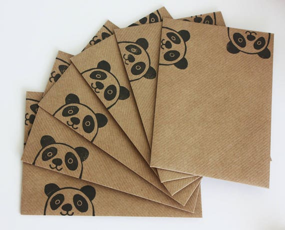 Set of 6 A6 Envelopes, Panda Bear, Original Hand Printed Envelopes, Handcarved Stamp, Brown Kraft Card, Free Postage in UK,
