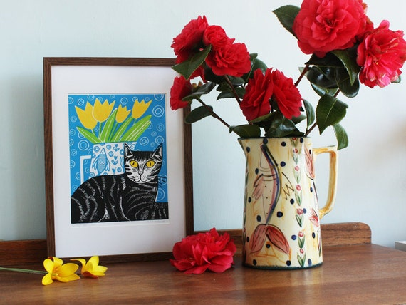 cat linocut print – linocut - Kat Lendacka - block print - signed open edition - free postage in UK - hand printed - printmaking