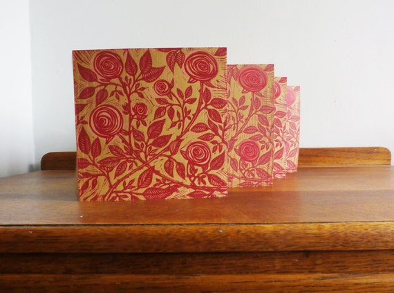 Linocut Cards Set of 4, Roses, Original Hand Printed Cards, Blank Greeting Cards, Brown Kraft Cards, Free Postage in UK,