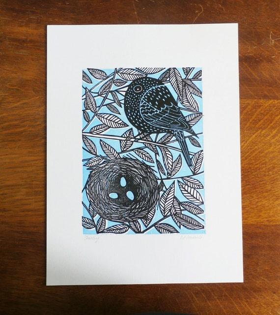 starling linocut print