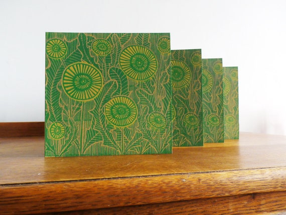 Linocut Cards Set of 4 - Mothers Day - Dandelions - Hand Printed - Kat Lendacka - Blank Greeting Cards - Brown Kraft Cards - Free Postage