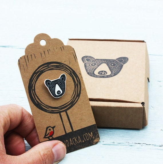 bear pin - free postage in the UK