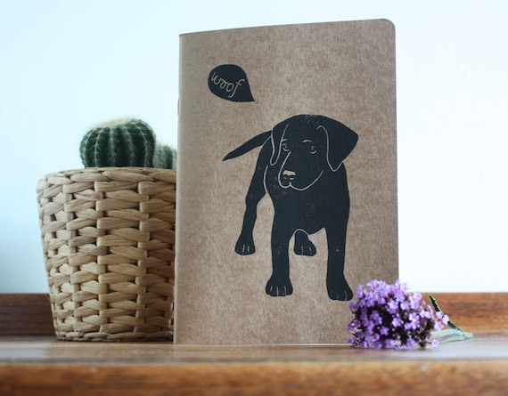 labrador puppy linocut, eco sketchbook, A5 Recycled Notebook, Plain White Pages, Hand Printed Linocut, Printmaking, Natural