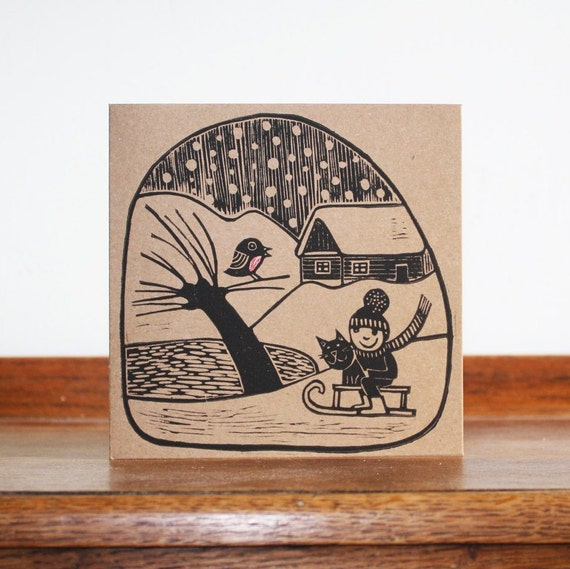 christmas linocut card - winter village - hand printed card - blank greeting card - brown kraft card - Kat Lendacka - free postage in UK