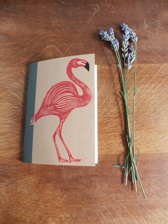 flamingo linocut notebook - MUJI A6 notebook -  lined recycled notebook - linocut print - printmaking - Kat Lendacka - gift - free postage