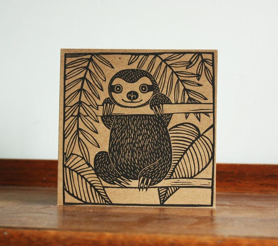Sloth, Animal Card, Original Hand Printed Card, Linocut Card, Blank Greeting Card, Brown Kraft Card, Free Postage in UK,