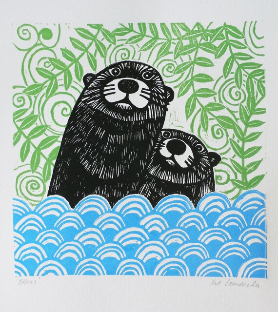 Otters, Original Linocut Print, Signed Open Edition, Free Postage in UK, Block Print, Printmaking,