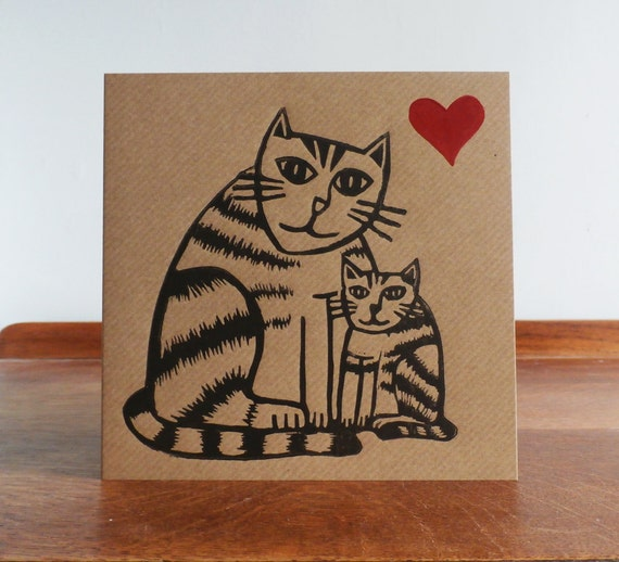 Fathers Day Card, Original Hand Printed Card, Linocut Card, Blank Greeting Card, Brown Kraft Card, Free Postage in UK,