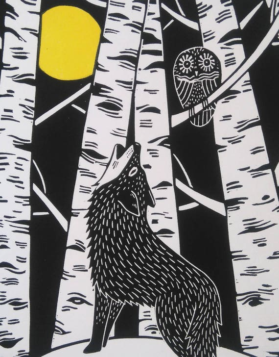 Wolf and Owl, Fathers Day Gift, Original Linocut Print, Signed Open Edition, Free Postage in UK, Hand Pulled, Printmaking,