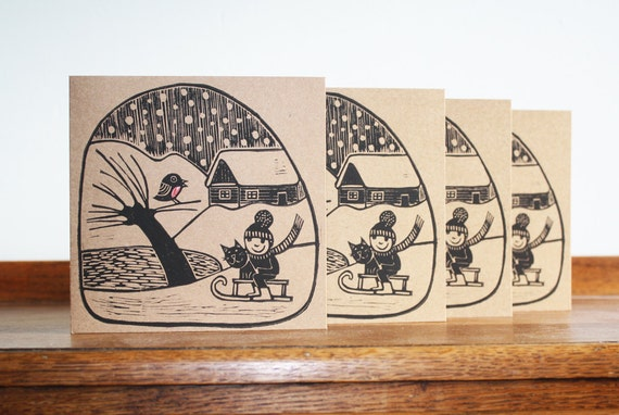 Set of 4 Cards, Winter Village, Hand Printed Card, Linocut Card, Christmas Blank Greeting Card, Brown Kraft Card, Free Postage in UK,