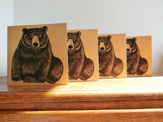 Bear, Woodland Animal, Original Hand Printed Card, Linocut Card, Blank Greeting Card, Brown Kraft Card, Free Postage in UK,