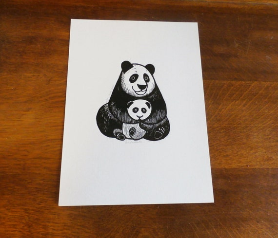 Panda Bears, Original Linocut Print, Signed Limited Edition of 50,  Free Postage in UK, Hand Pulled, Printmaking,