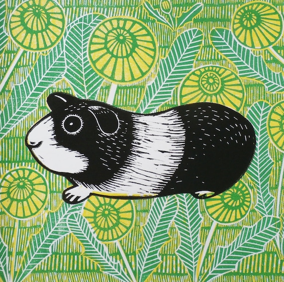 linocut print - guinea pig linocut - linocut print - linoprint - signed open edition - free postage in the UK - printmaking - Kat Lendacka