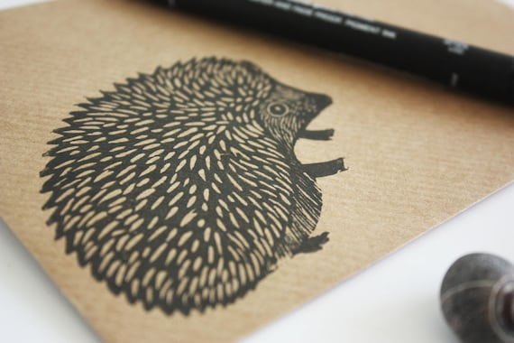 hand printed linocut envelopes - set of 6 A6 envelopes - hedgehog - Kat Lendacka - hand carved stamp -brown kraft card - free postage