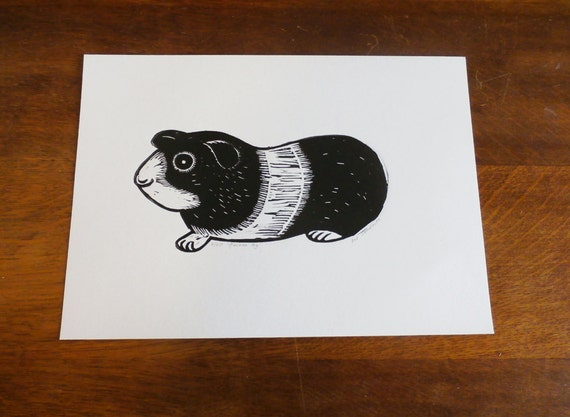 Guinea Pig, Original Linocut Print, Signed Limited Edition of 50, Free Postage in UK, Hand Pulled, Printmaking, Christmas Gift Ideas