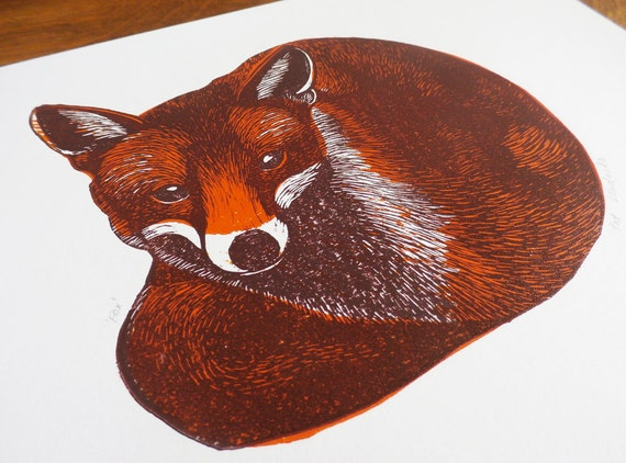 fox linocut print - 2 color linocut - animal linocut print -signed open edition - free postage - block print - Kat Lendacka - printmaking,