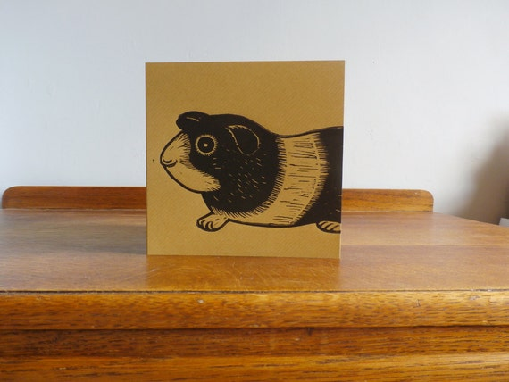 Guinea Pig, Original Hand Printed Card, Linocut Card, Blank Greeting Card, Brown Kraft Card, Free Postage in UK,