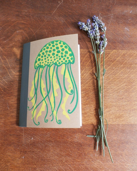 Jellyfish Notebook, MUJI, A6 Recycled Notebook, Lined, Hand Printed Linocut, Printmaking, Natural, lined notebook, notebook gift,