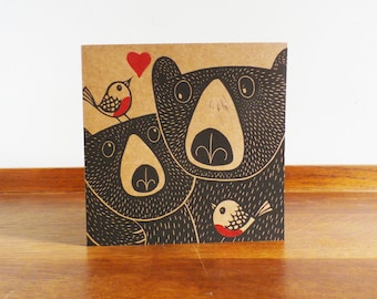 Bears and Robins in Love, Valentines Card, Original Hand Printed Card, Linocut Card, Blank Greeting Card, Brown Card, Free Postage in UK,