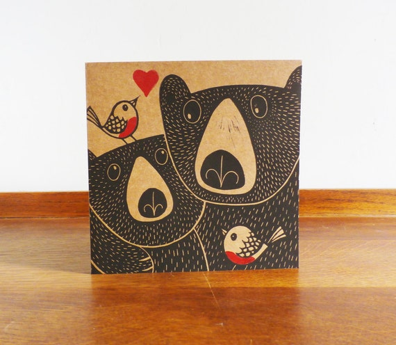 Bears and Robins in Love, Mothers Day Card, Original Hand Printed Card, Linocut Card, Blank Greeting Card, Brown Card, Free Postage in UK,