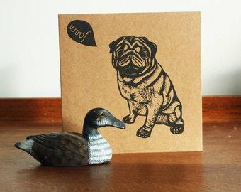 Pug, Animal linocut card, Original Hand Printed Card, Blank Greeting Card, Brown Kraft Card, Free Postage in UK,