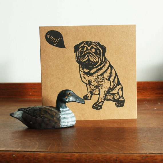 linocut card - pug - animal linocut card - original hand printed card - blank greeting card - Kat Lendacka - kraft card - free postage in UK