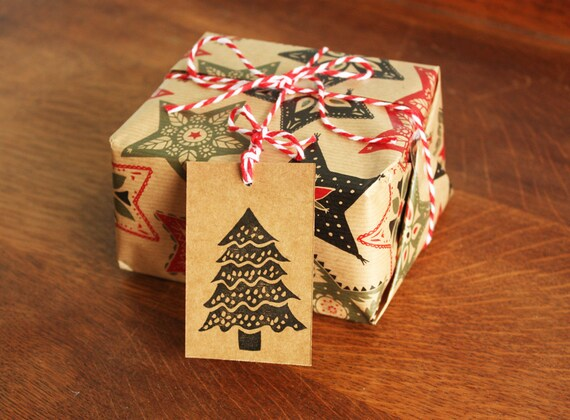6 Christmas Tree Gift Tags, Original Hand Printed Gift Tags, Christmas Gift Tags, Brown Kraft Card, Free Postage in UK,