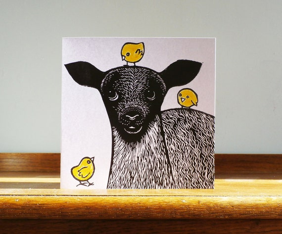 Lamb with Chicks, Spring, Original Hand Printed Card, Linocut Card, Blank Greeting Card, Free Postage in UK,