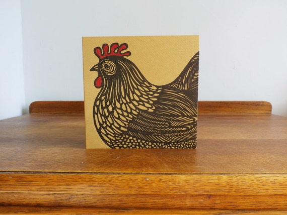 Cockerel, Original Hand Printed Card, Linocut Card, Blank Greeting Card, Brown Kraft Card, Free Postage in UK,