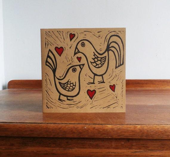 Love Birds, Valentines Day Card, Original Hand Printed Card, Linocut Card, Blank Greeting Card, Brown Kraft Card, Free Postage in UK,