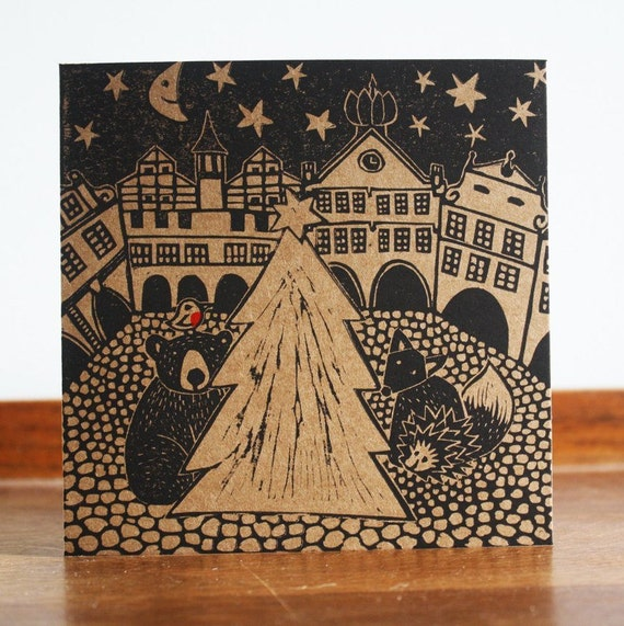 christmas linocut card - christmas in town - hand printed card - Kat Lendacka - blank greeting card - brown kraft card - free postage in UK
