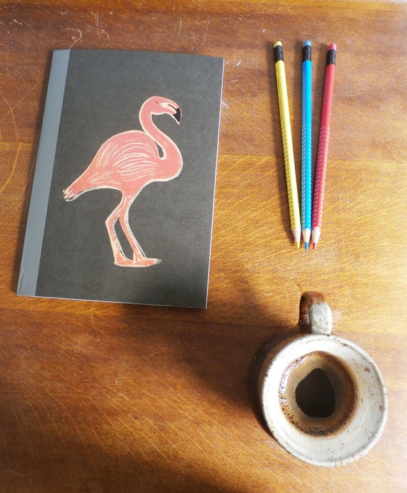 flamingo notebook - MUJI - A5 recycled notebook - lined - hand printed linocut - printmaking - lined notebook - notebook gift - Kat Lendacka