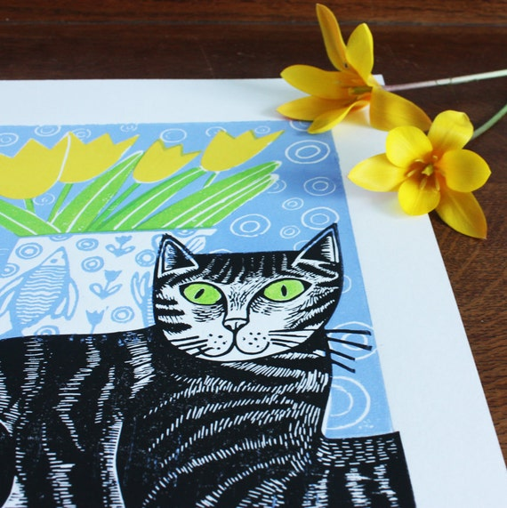 linocut print - cat linocut – mothers day - Kat Lendacka - signed open edition - free postage in UK - hand printed - linoprint - block print