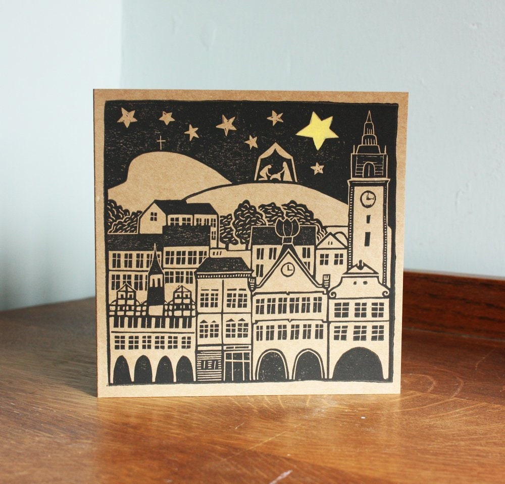 Linocut Christmas Card Nativity Scene Old Architecture Kat
